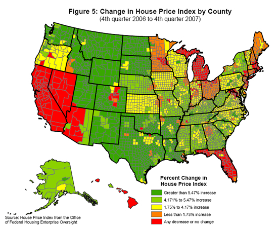 Change in House Price Index by County