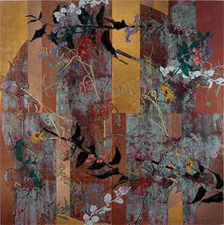 "Robert Kushner - ""American Tapestry,"" 2008, oil, acrylic, metallic leaf on canvas"