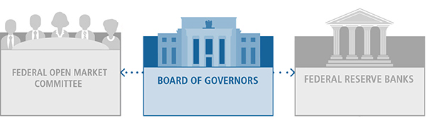 BOARD OF GOVERNORS graphic highlighted with color. Two other graphics in gray, FEDERAL OPEN MARKET COMMITTEE, and FEDERAL RESERVE BANKS, plus dotted arrows from the BOARD to the FOMC and the BANKS.