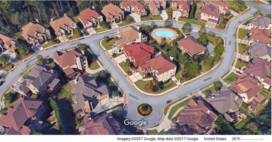 Figure 1. A Residential Neighborhood in the Suburbs of Atlanta, GA. See accessible link for data description.