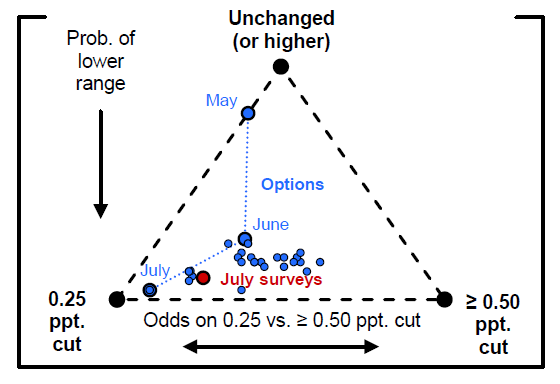 Figure 6: Option- and Survey-Implied Policy Rate Probabilities for July 2019 Meeting. See accessible link for data description.