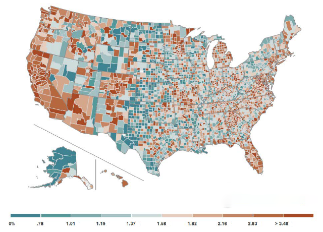 Figure 2: County-level Household Debt-to-Income Ratios in 2006:Q4. See accessible version link for accessible data.
