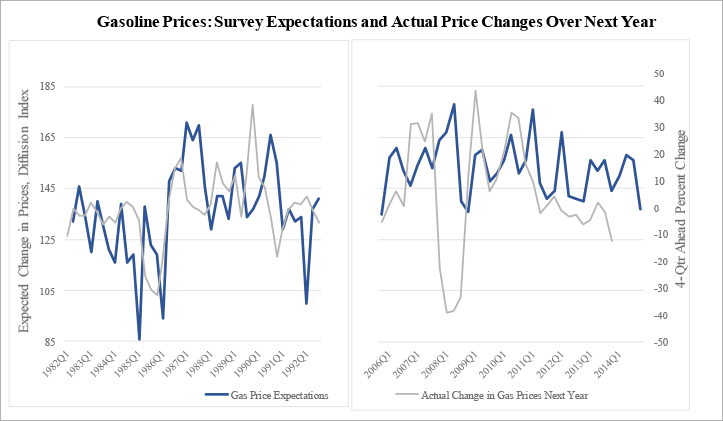 Figure 2: Gasoline Prices: Survey Expectations and Actual Price Changes Over Next Year. See accessible link for data.