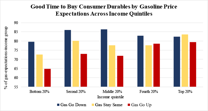 Figure 5: Good time to Buy Consumer Durables by Gasoline Price Expectations Across Income Quintiles. See accessible link for data.
