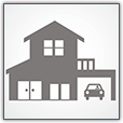 An illustration of a house with a car in a garage