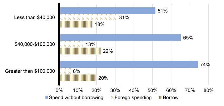 Figure 4: Holiday spending and borrowing among those who have a credit card or are very confident that they could obtain credit were they to apply (by income). See accessible link for data.