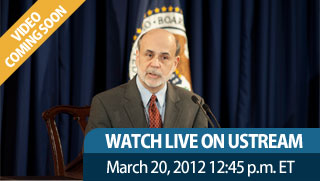 Watch live on Ustream March 20, 2012 12:45 p.m. ET