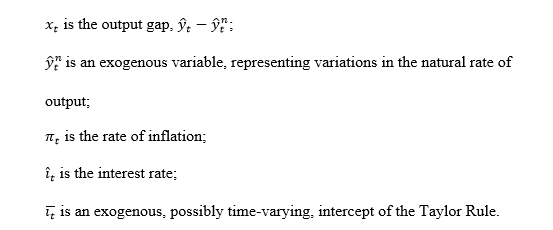 definition of variables in three equation model